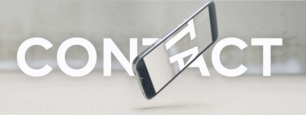 A phone falling in mid-air, intersected by the word 'Contact'