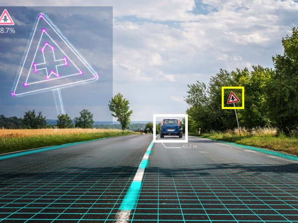 Autonomous self-driving car is recognising road signs. Computer vision and artificial intelligence concept.