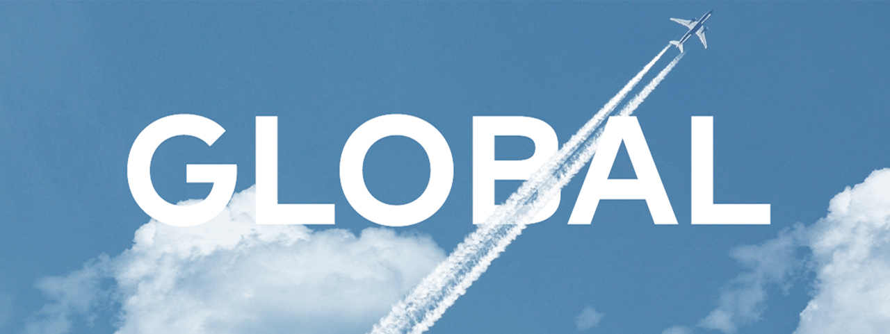 A plane flies through the sky, the image intersected by the word 'Global'