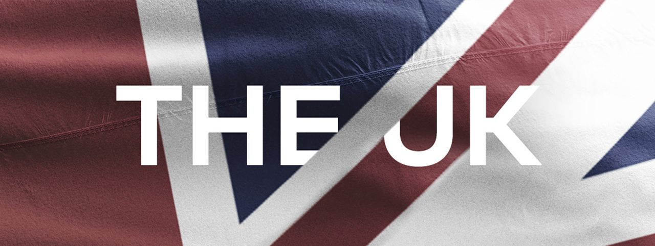 The UK flag, intersected by the words 'The UK'