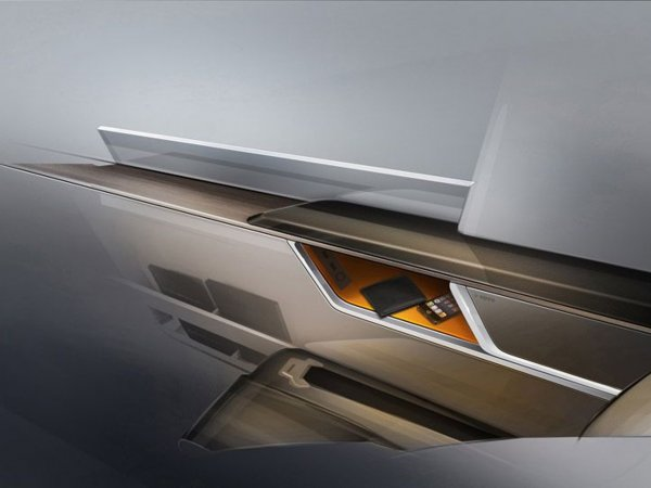 A graphic of a car door with an iphone and a wallet tucked in a compartment