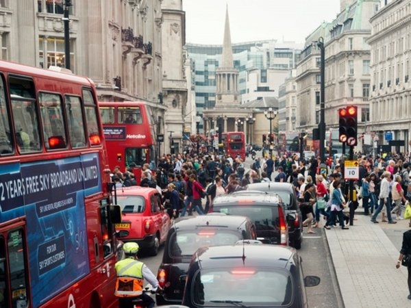 A crowded London street in the daytime