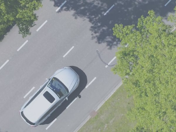 A birds-eye-view of a car driving along a leafy road in the sun