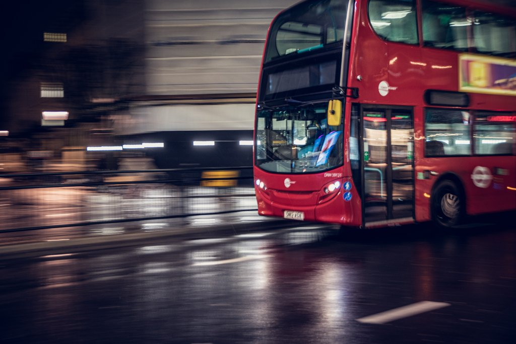 London bus driving at night